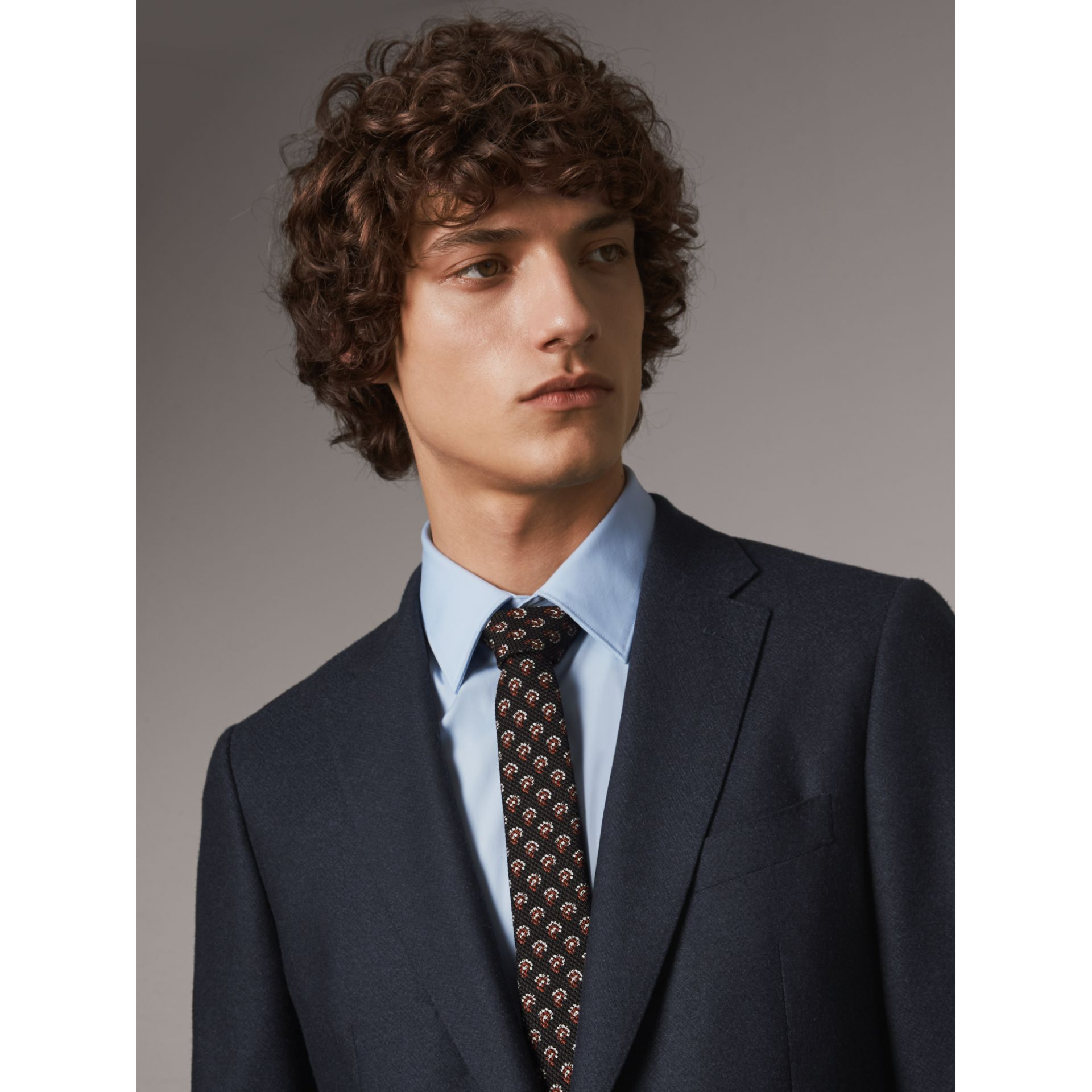 Slim Cut Paisley Silk Tie in Mid Grey - Men | Burberry - gallery image 3