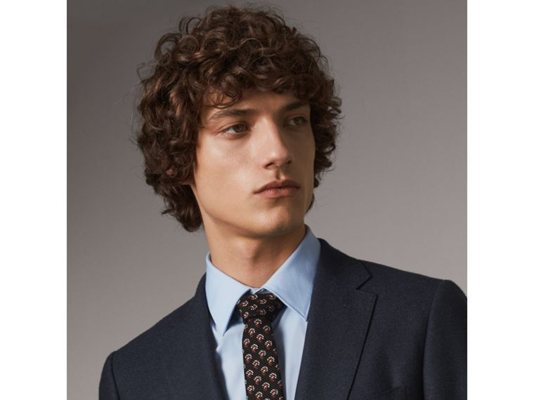 Slim Cut Paisley Silk Tie in Mid Grey - Men | Burberry - cell image 2