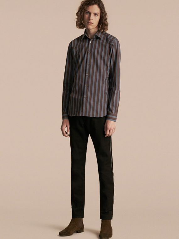 Slim Fit Pyjama Stripe Cotton Poplin Shirt