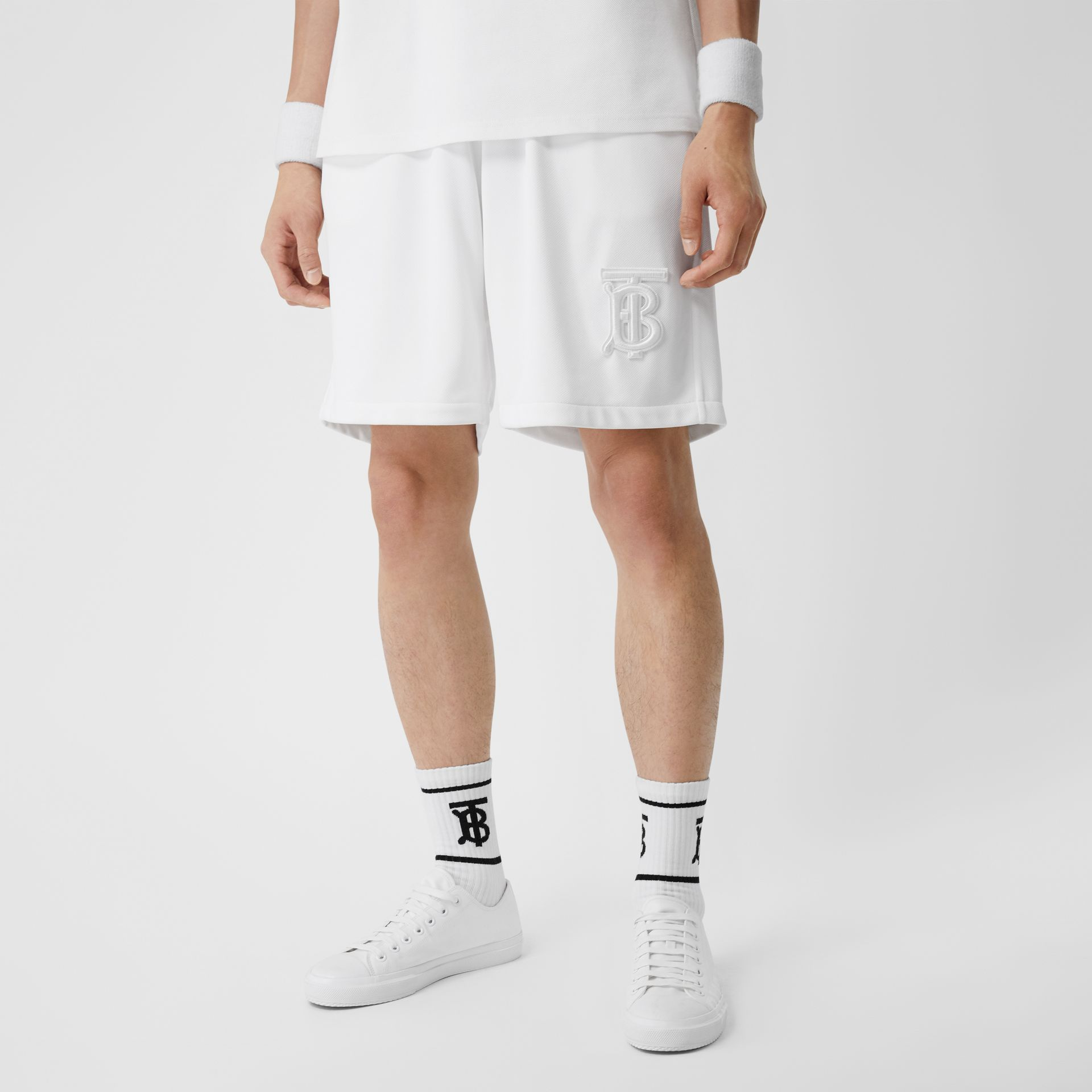 Monogram Motif Jersey Tennis Shorts in White - Men | Burberry - gallery image 4