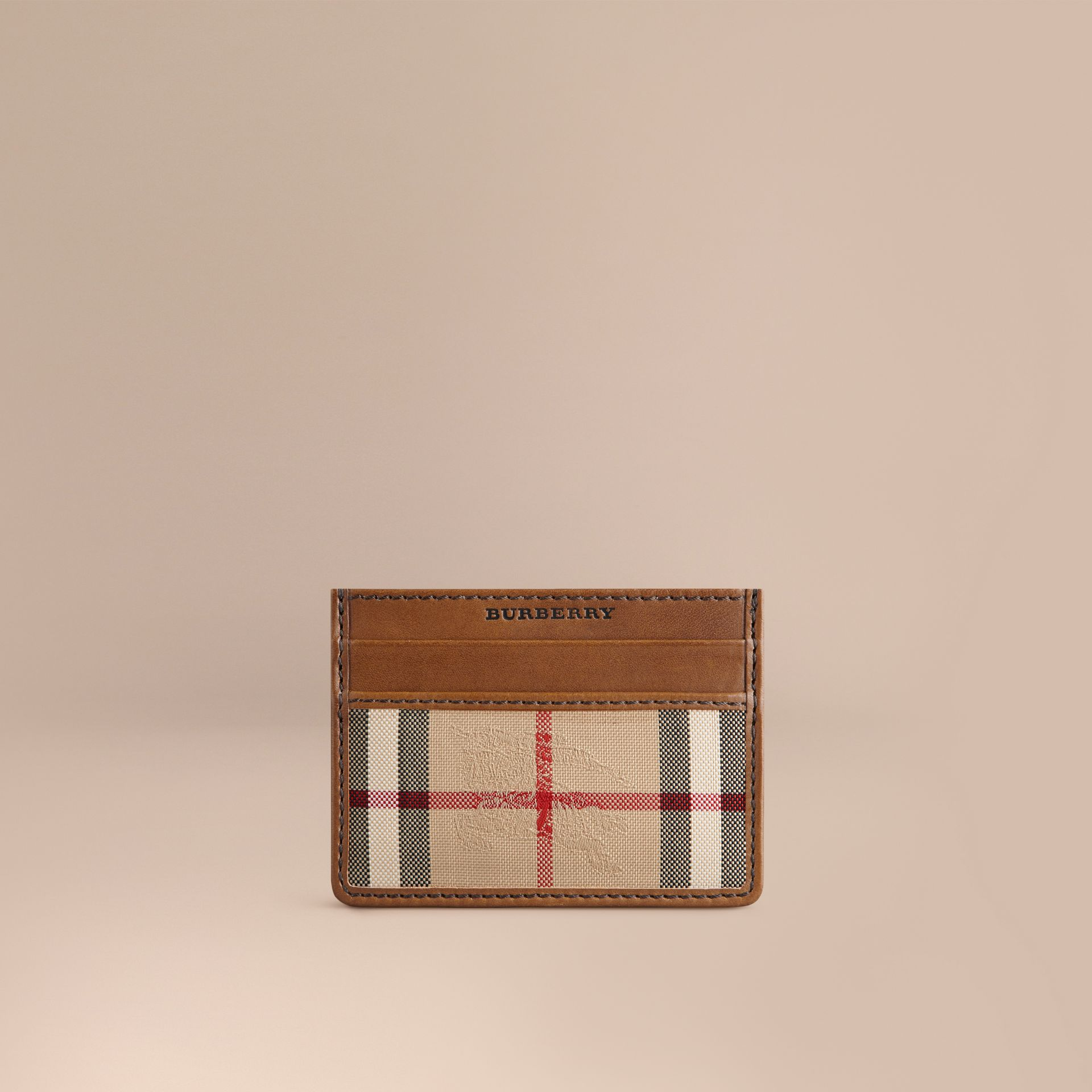 Horseferry Check Card Case in Tan - gallery image 1