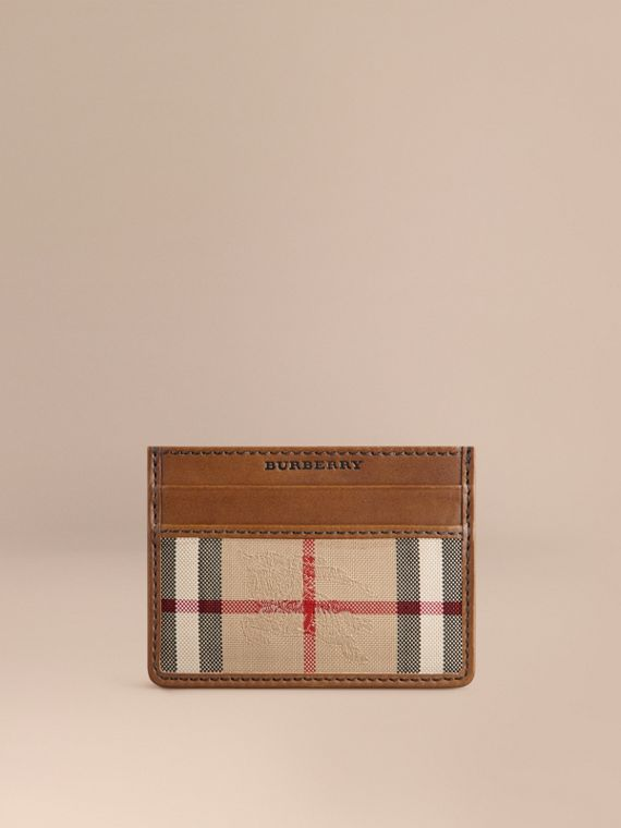 Horseferry Check Card Case in Tan - Men | Burberry