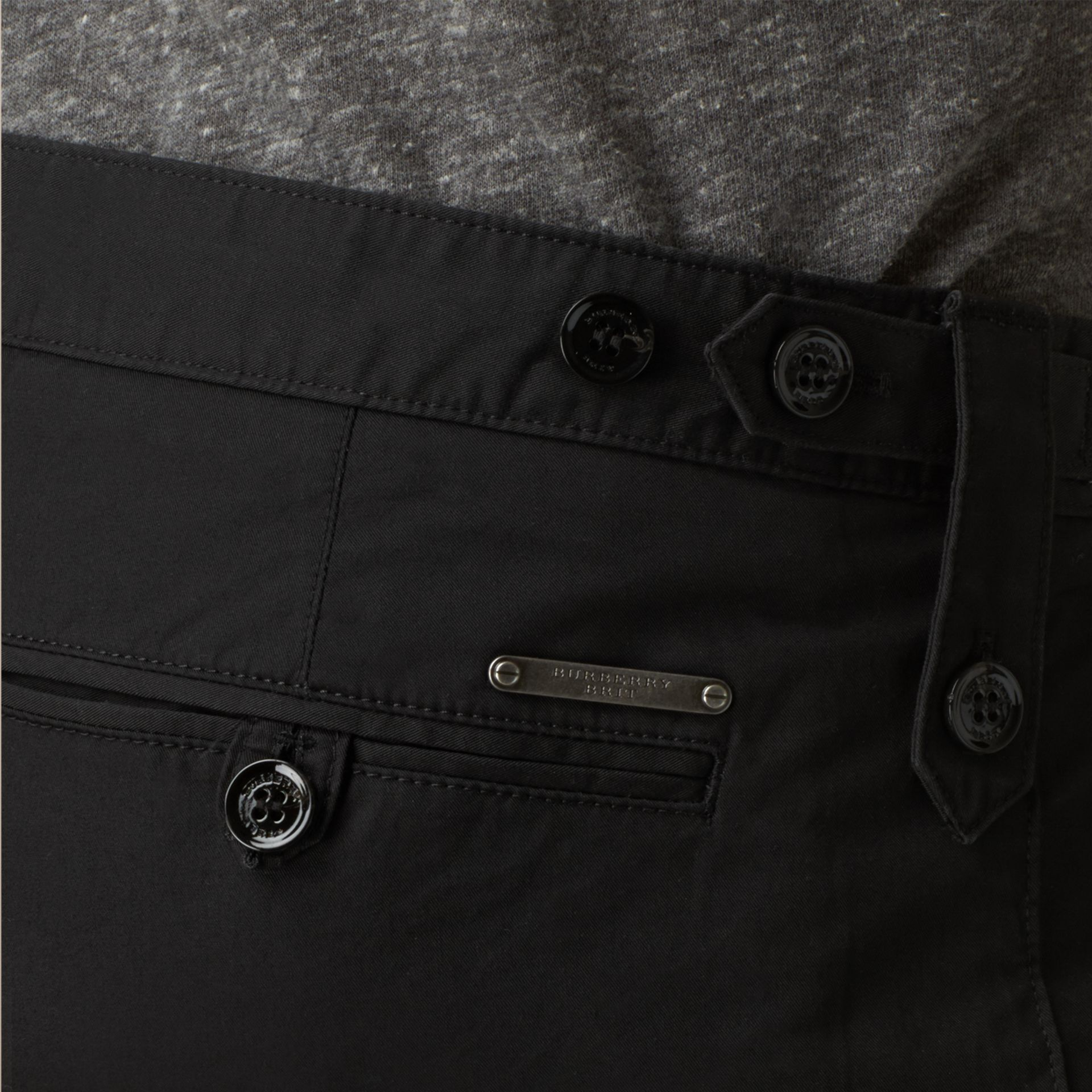 Straight Fit Cotton Chinos Black - gallery image 2