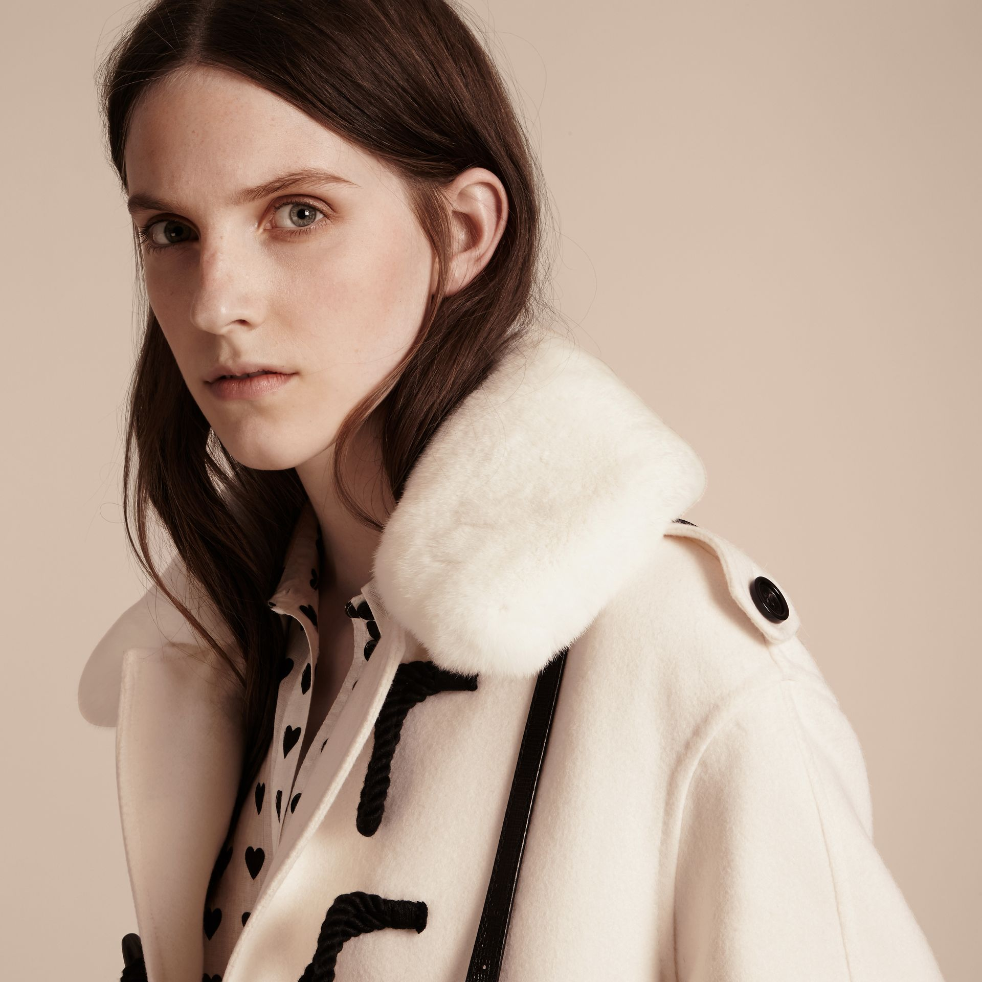 White Cashmere Duffle Coat with Detachable Fur Collar - gallery image 6