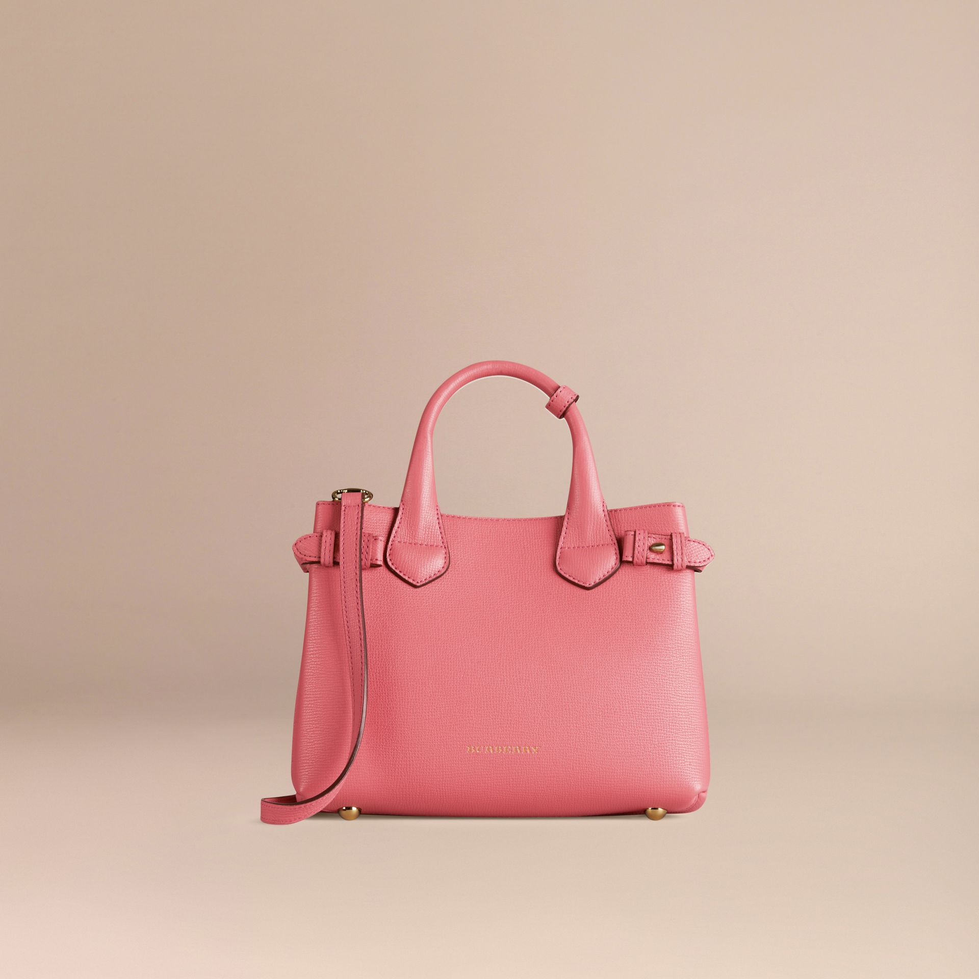 Sac The Banner medium en cuir et coton House check Rose Mauve - photo de la galerie 6