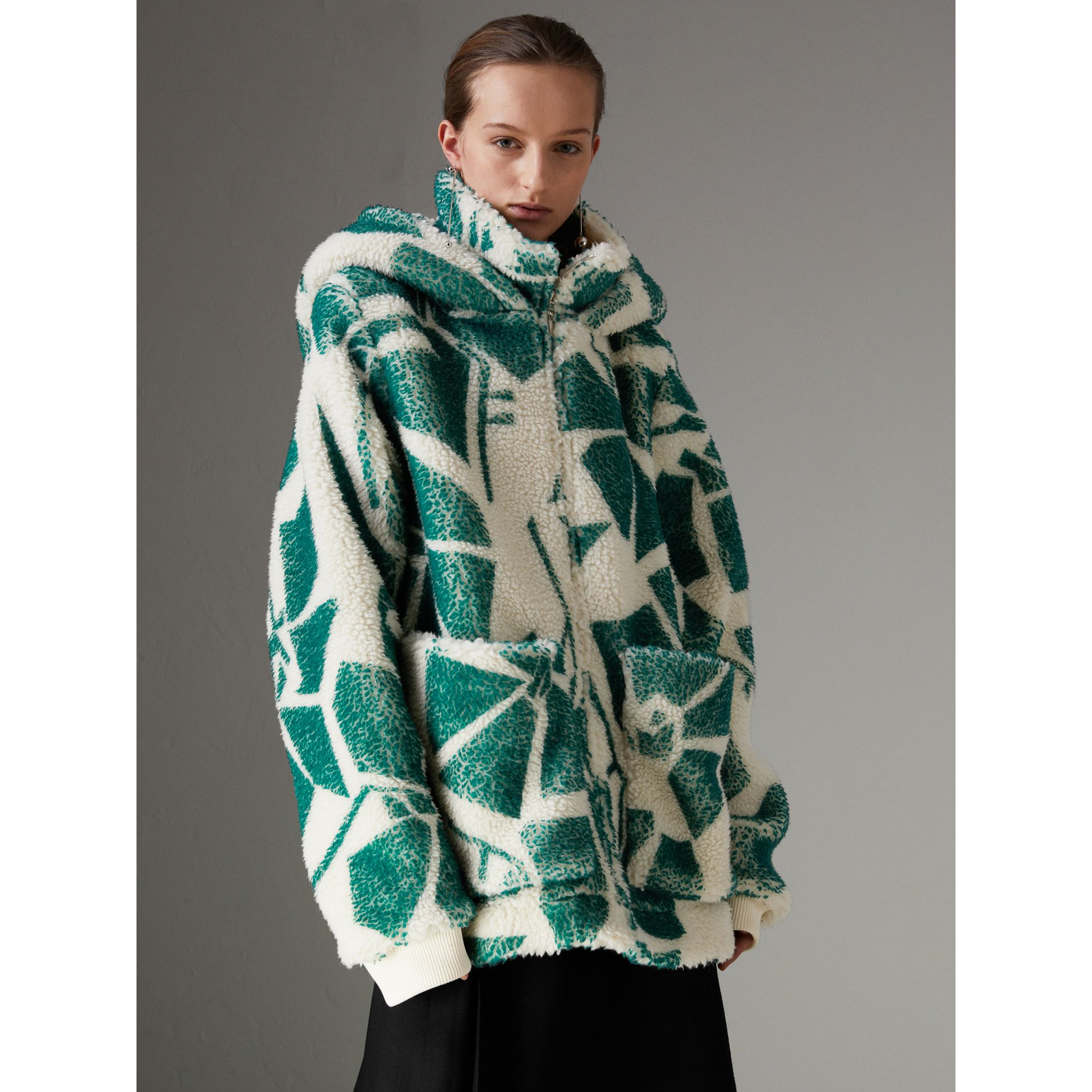 Floral Print Cashmere-silk Fleece Zipped Hoodie in Forest Green - Women | Burberry Australia - gallery image 4