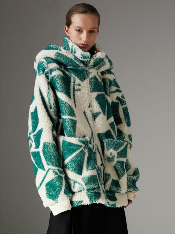 Floral Print Cashmere-silk Fleece Zipped Hoodie in Forest Green