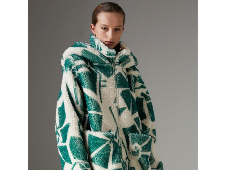 Floral Print Cashmere-silk Fleece Zipped Hoodie in Forest Green - Women | Burberry Australia - cell image 4