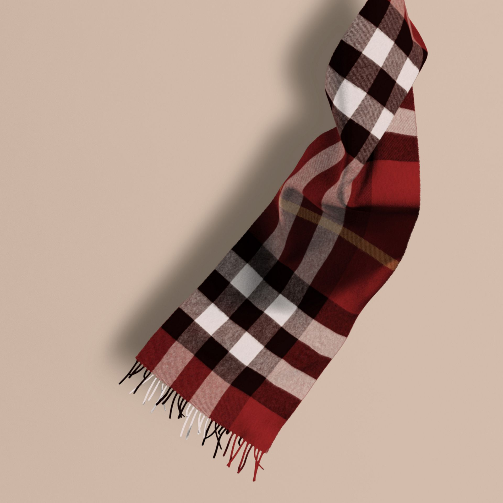 The Large Classic Cashmere Scarf in Check in Parade Red | Burberry Australia - gallery image 1
