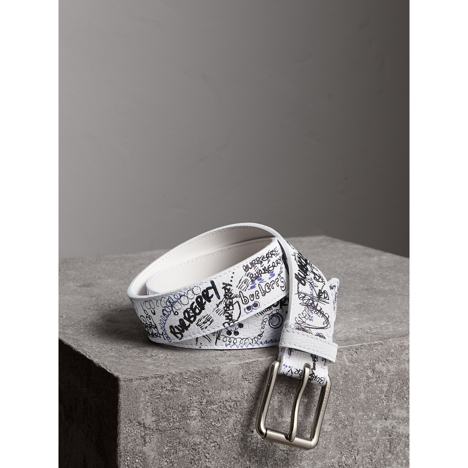 Doodle Print Leather Belt in White - Men | Burberry - gallery image 0