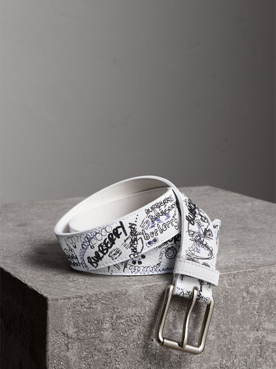 Doodle Print Leather Belt in White