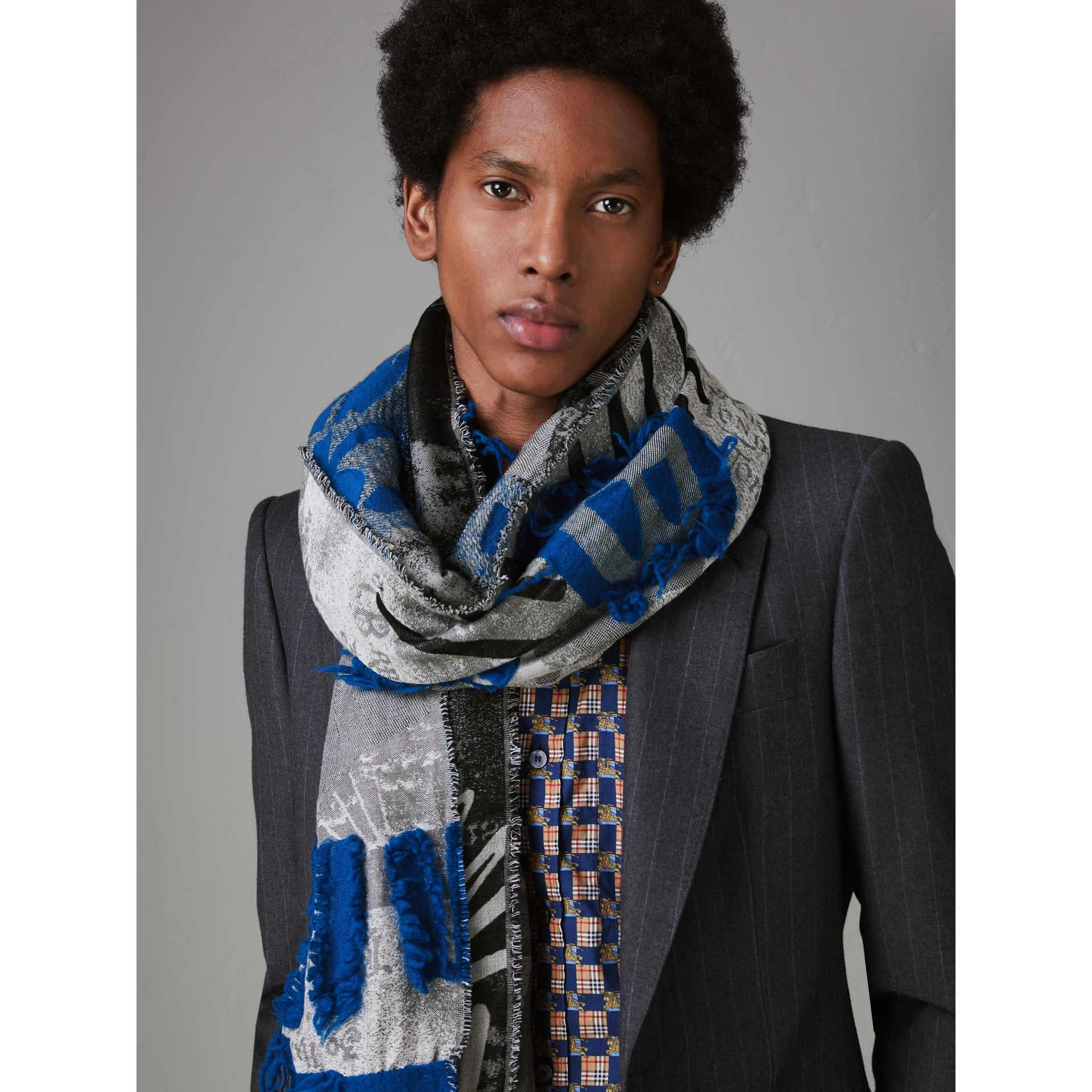 Graffiti Print Fil Coupé Cotton Wool Modal Scarf in Cobalt Blue | Burberry - gallery image 3