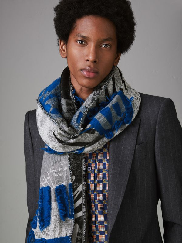 Graffiti Print Fil Coupé Cotton Wool Modal Scarf in Cobalt Blue | Burberry - cell image 3