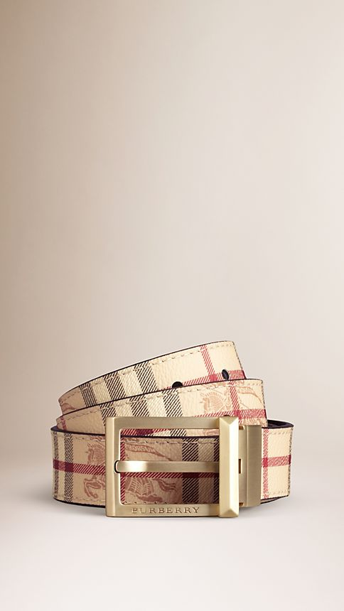 Chocolate Haymarket Check Reversible Leather Belt - Image 1