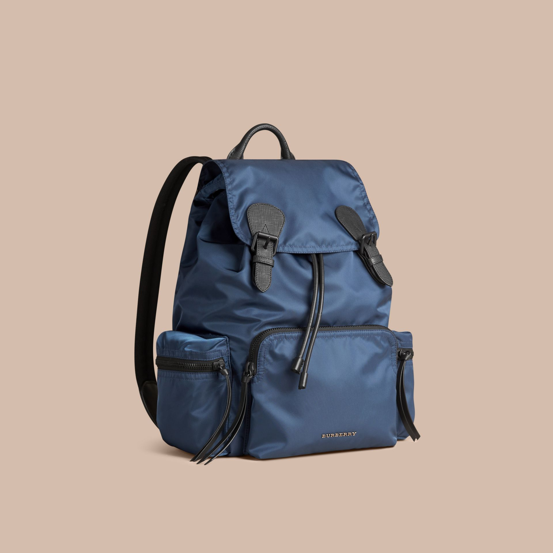 The Large Rucksack in Technical Nylon and Leather Steel Blue - gallery image 1
