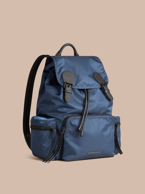 The Large Rucksack in Technical Nylon and Leather Steel Blue