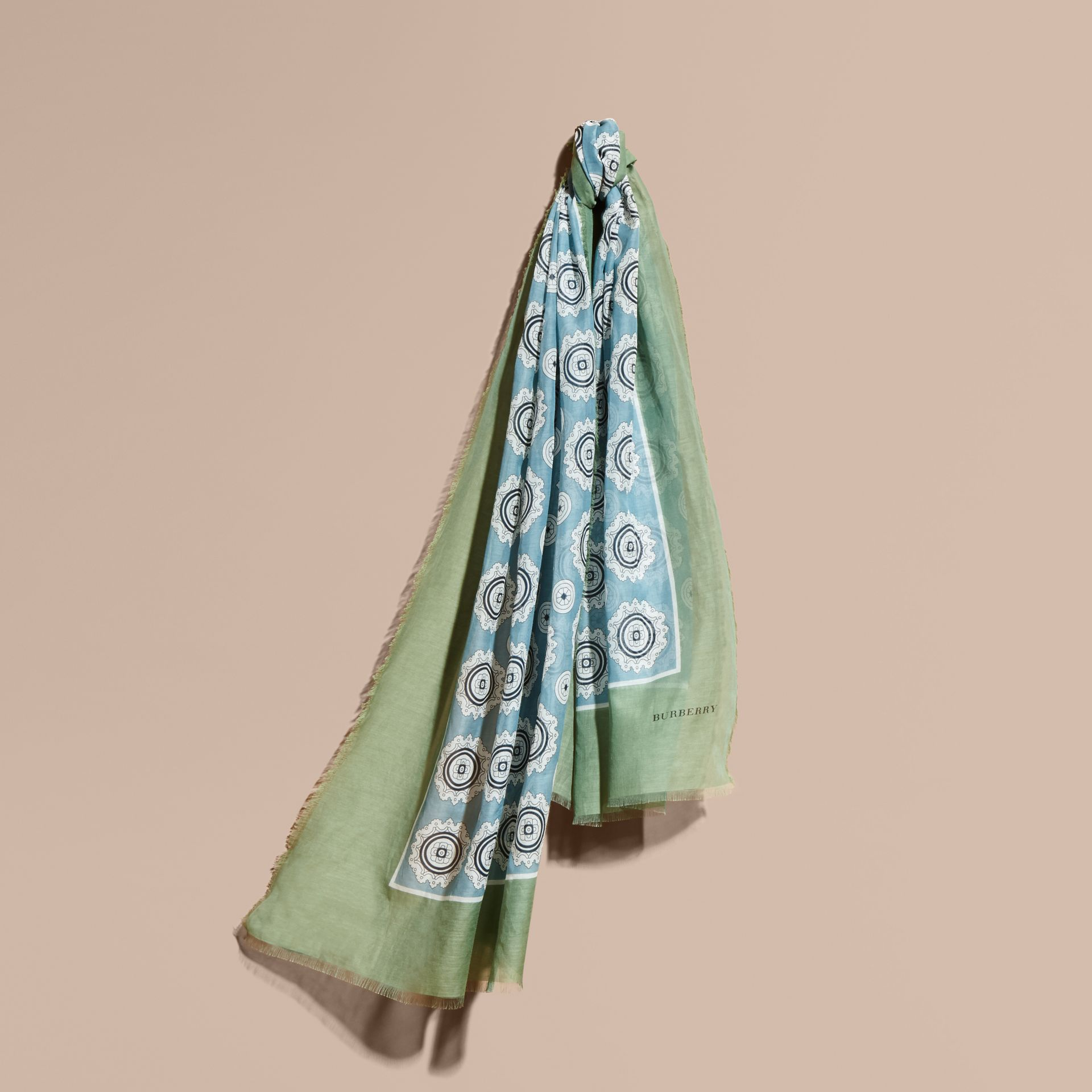 Pyjama Print Cotton Silk Scarf in Pale Stone Blue - gallery image 1