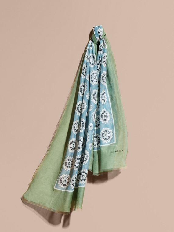 Pyjama Print Cotton Silk Scarf Pale Stone Blue