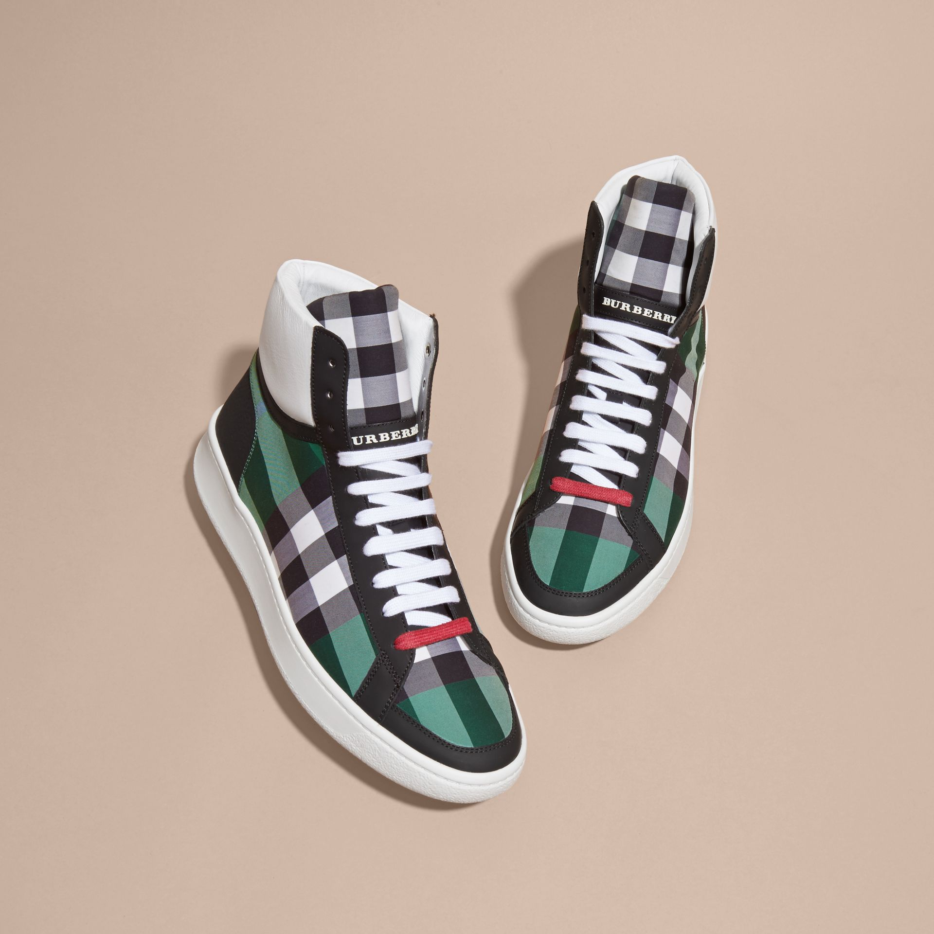 Leather and Check High-top Trainers Dark Pigment Green - gallery image 3