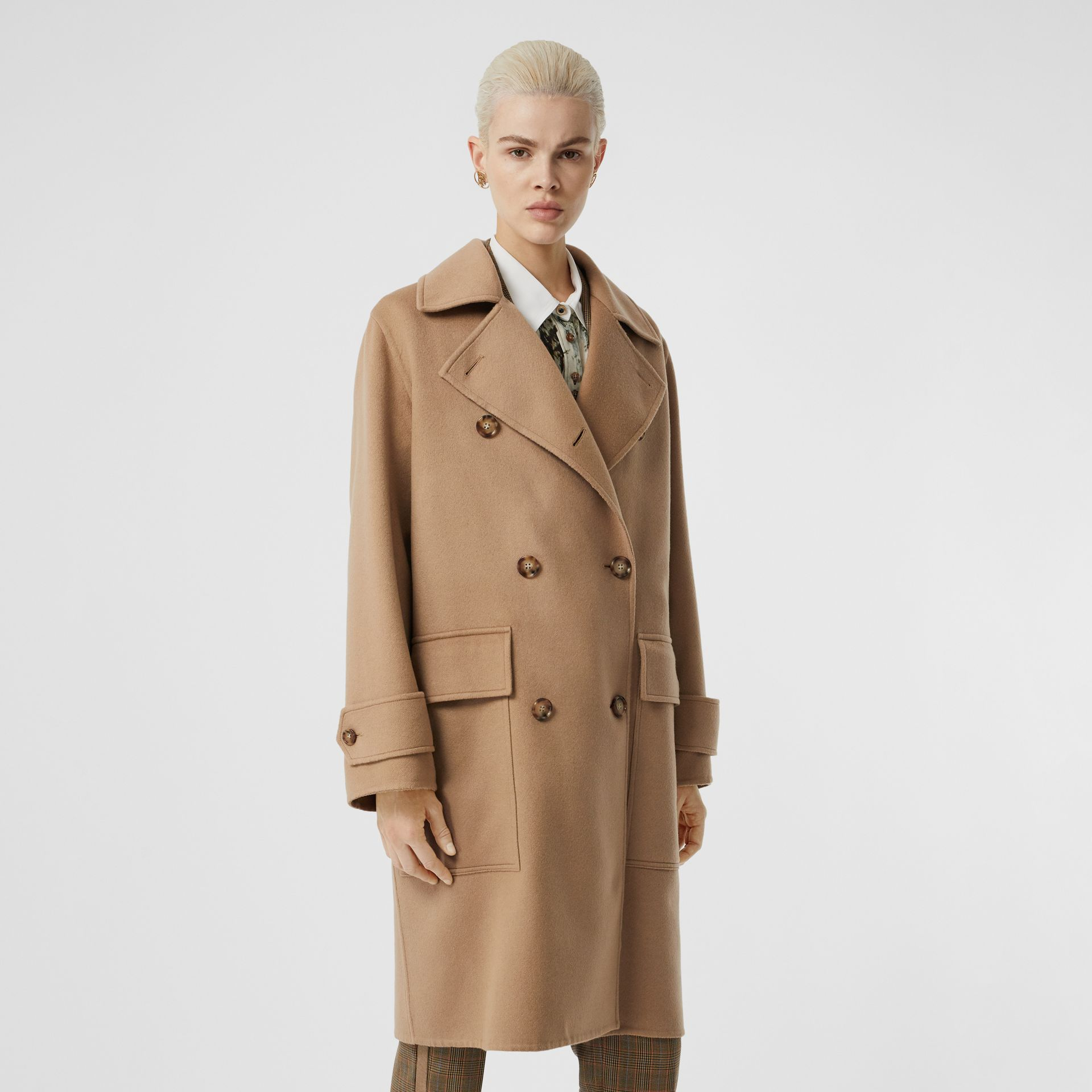 Double-faced Cashmere Oversized Coat in Light Camel - Women | Burberry - gallery image 5