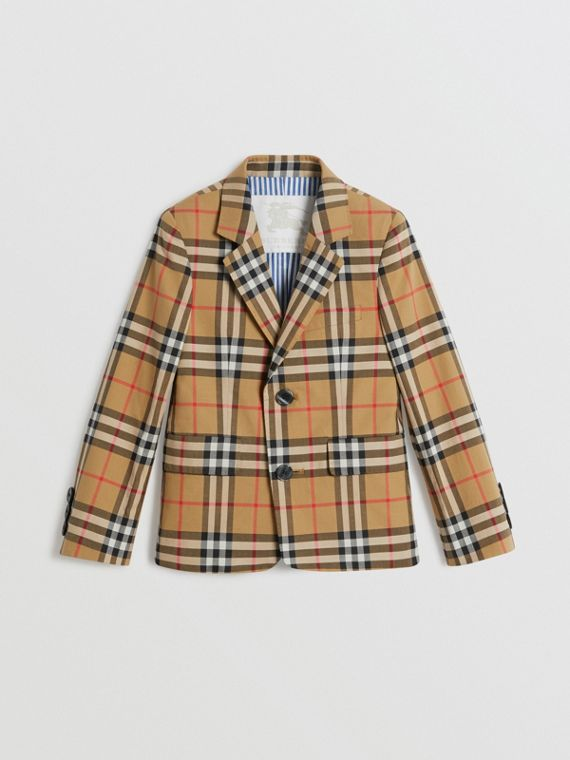 Vintage Check Cotton Blazer in Antique Yellow