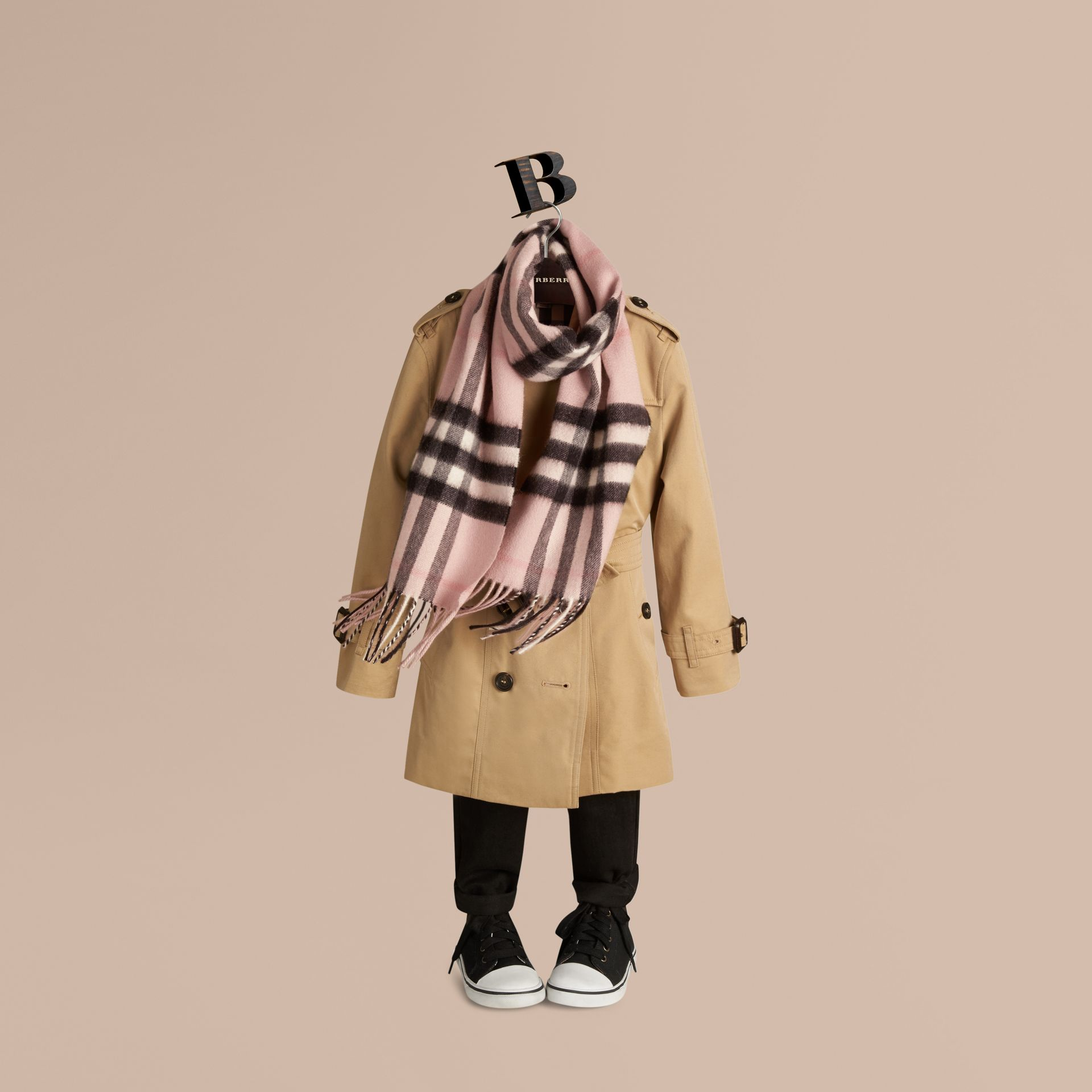 The Mini Classic Cashmere Scarf in Check Rose - gallery image 3