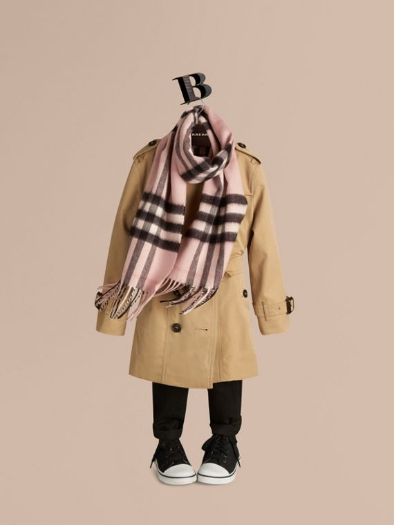 The Mini Classic Cashmere Scarf in Check in Ash Rose - Girl | Burberry - cell image 2