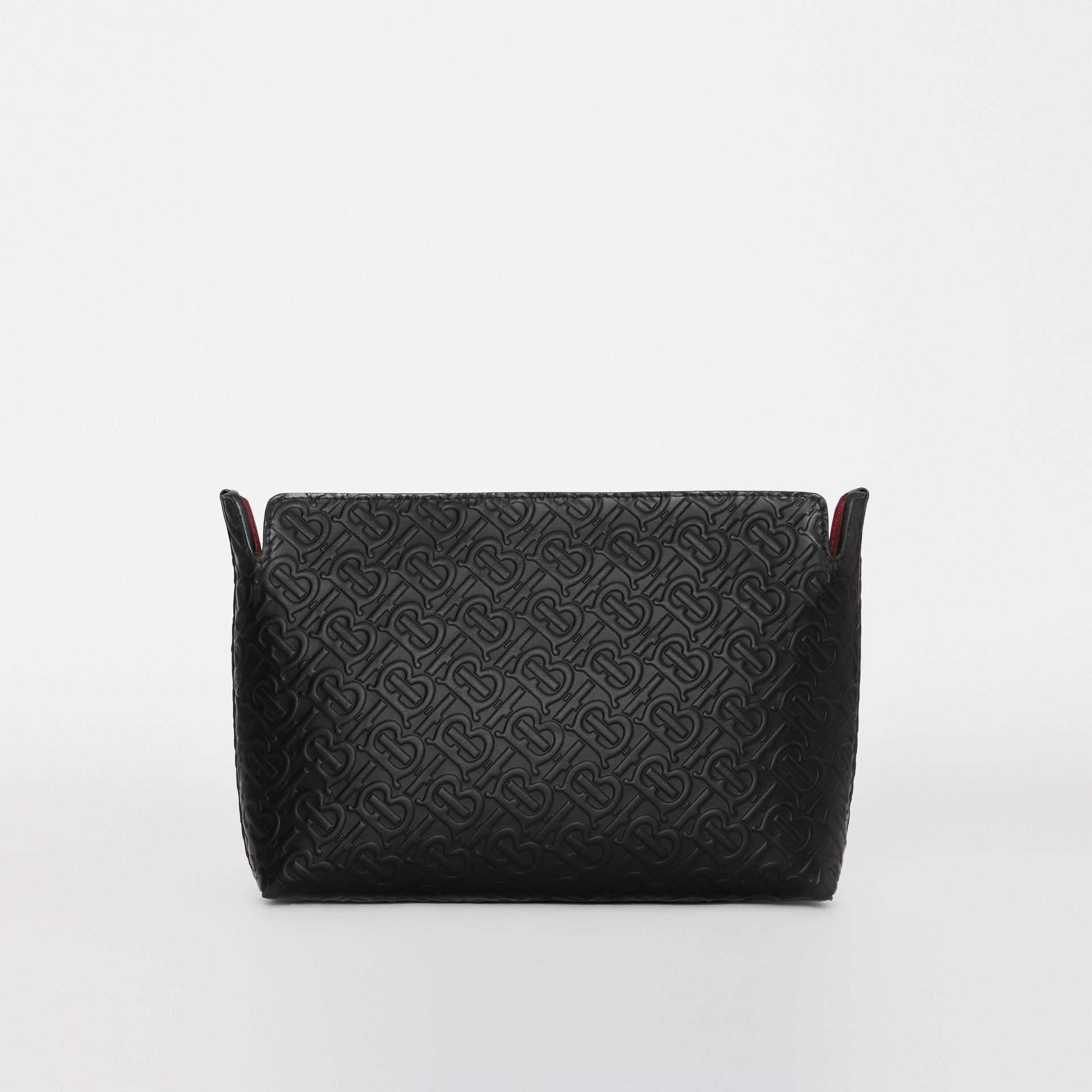Medium Monogram Leather Clutch in Black - Women | Burberry - gallery image 0