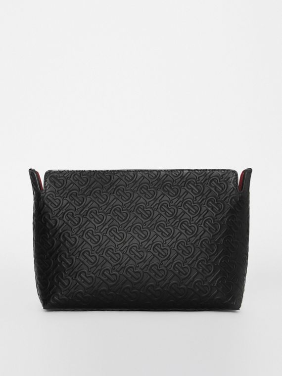 Medium Monogram Leather Clutch in Black