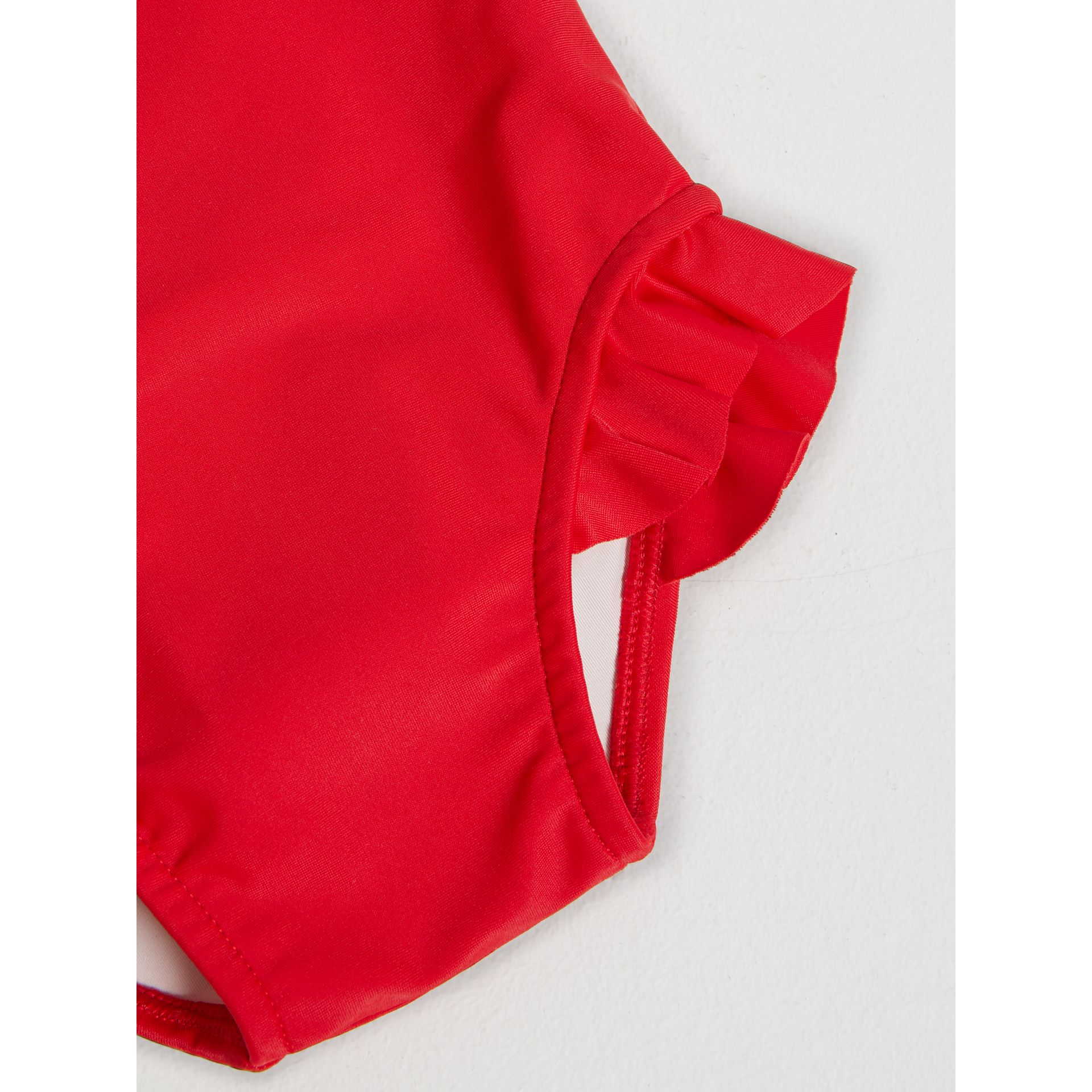 Check Detail One-piece Swimsuit in Poppy Red | Burberry - gallery image 1