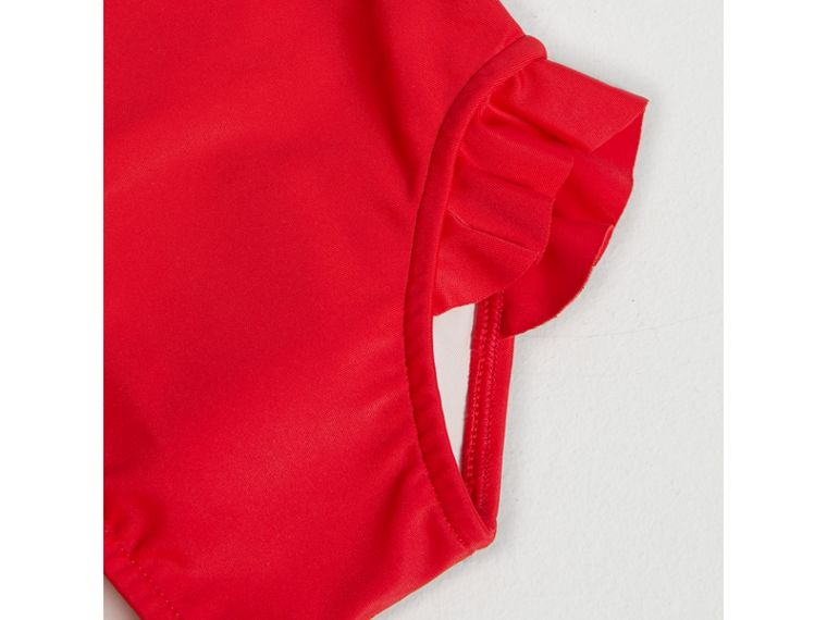 Check Detail One-piece Swimsuit in Poppy Red | Burberry Australia - cell image 1
