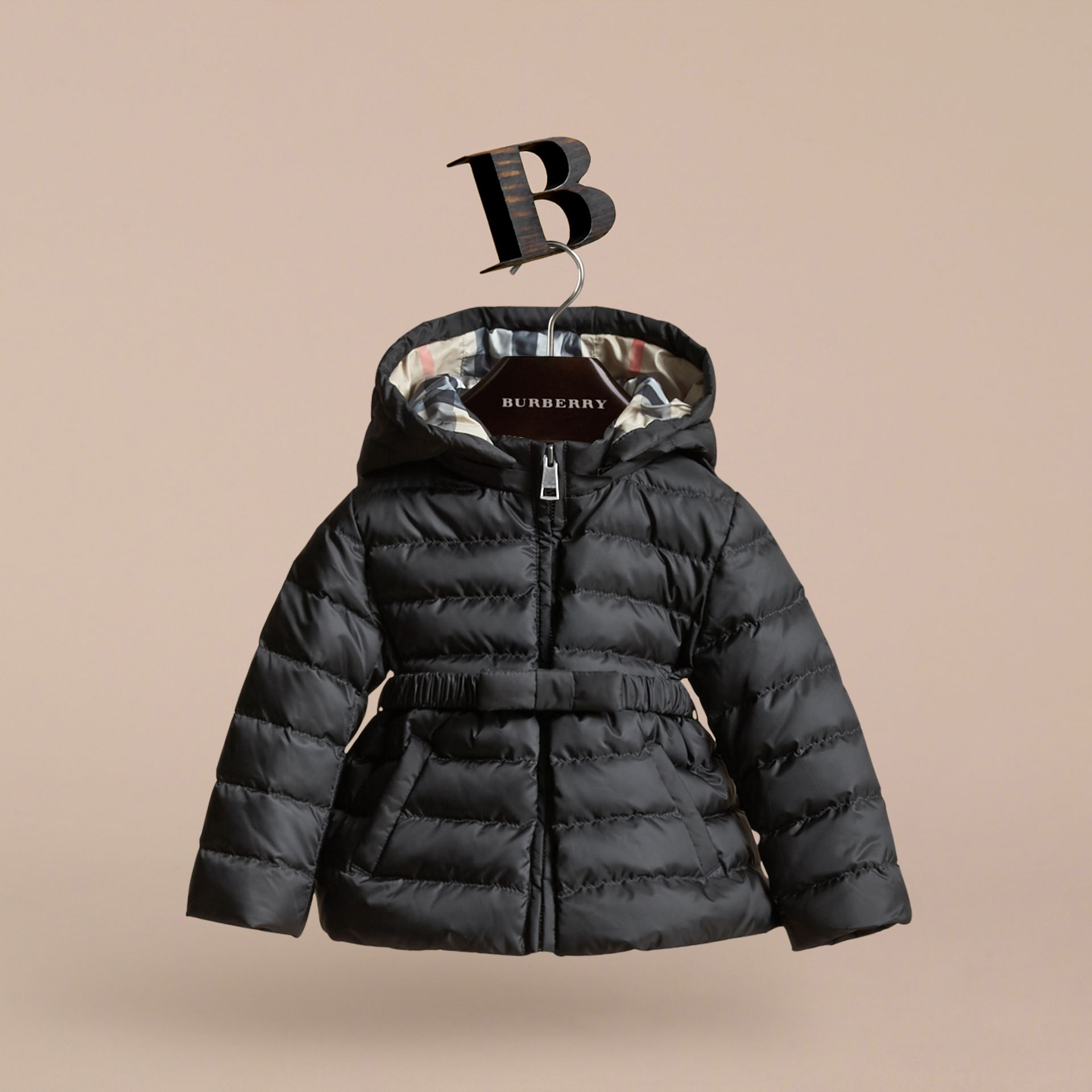 Black Bow Detail Puffer Jacket - gallery image 3