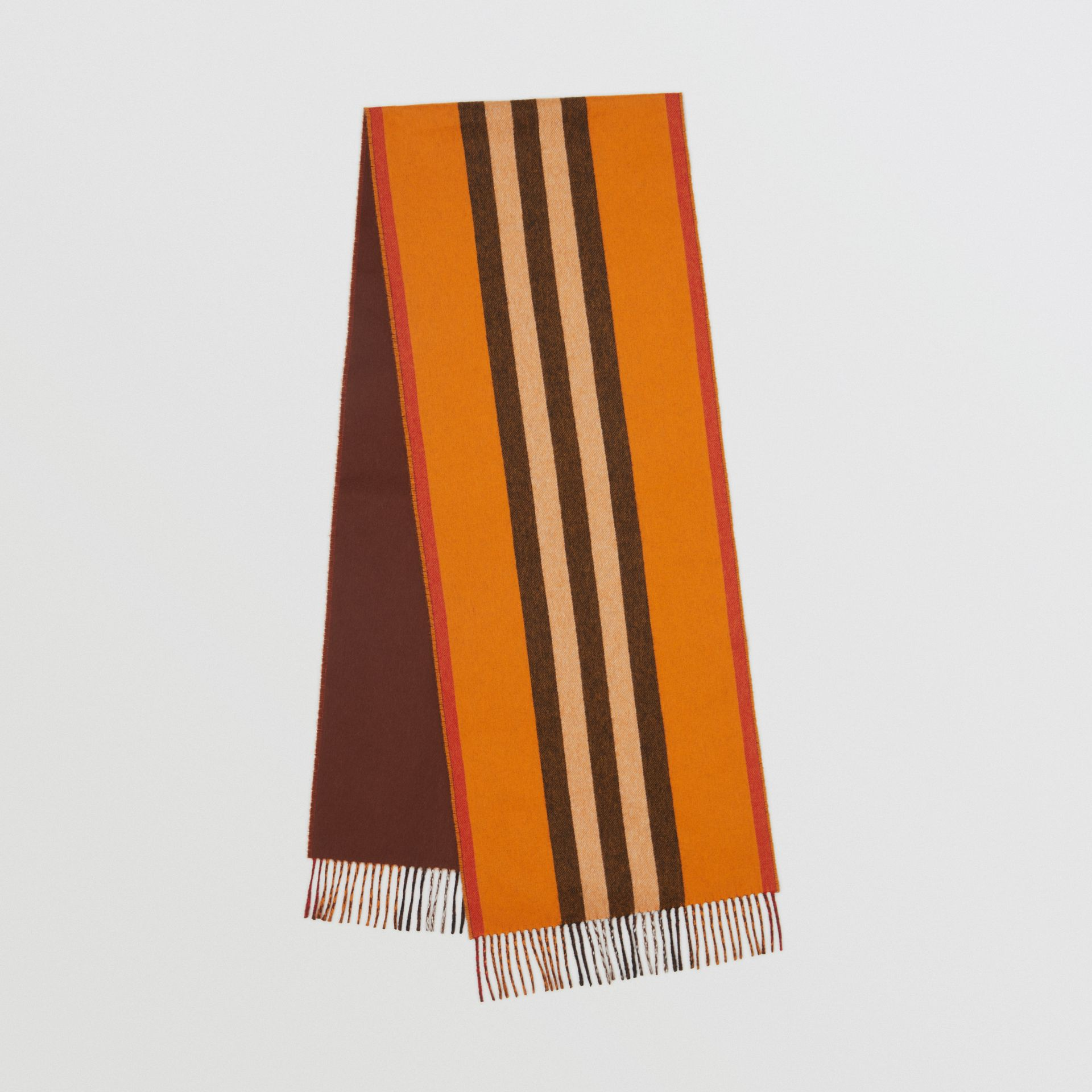 Reversible Icon Stripe Cashmere Scarf in Orange | Burberry - gallery image 0