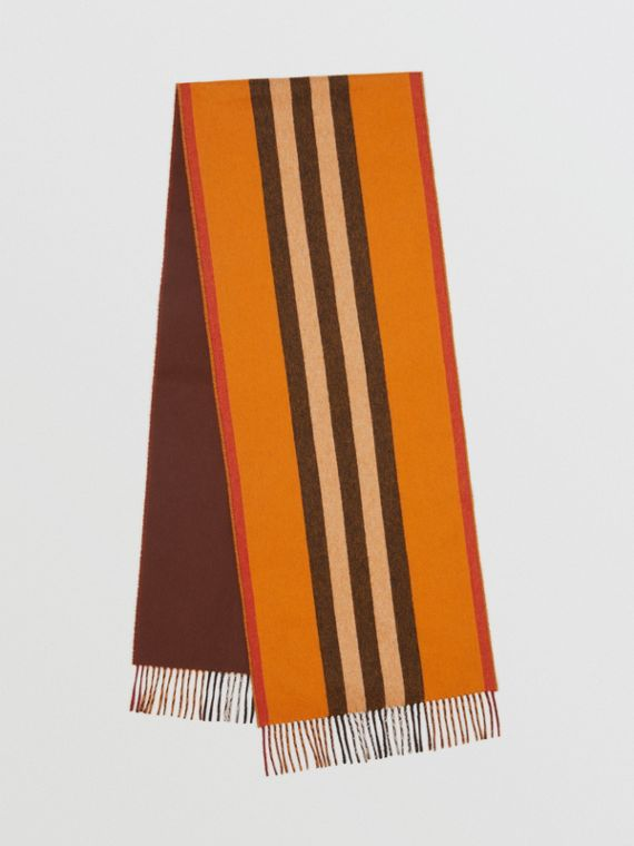 Reversible Icon Stripe Cashmere Scarf in Orange