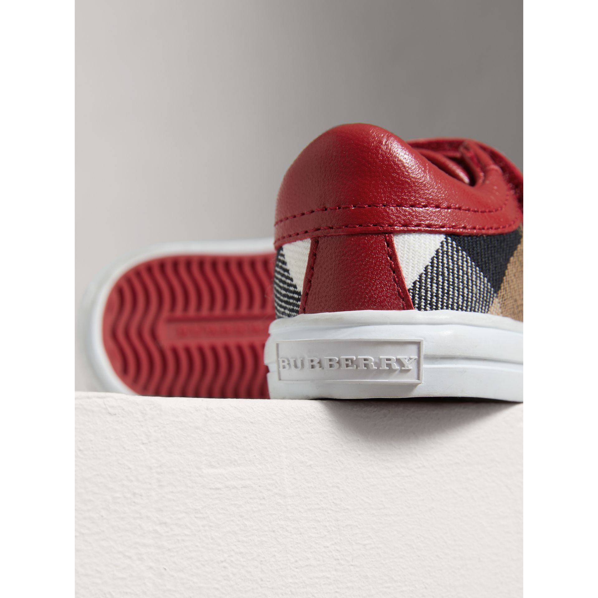 House Check and Leather Trainers in Parade Red | Burberry United Kingdom - gallery image 1