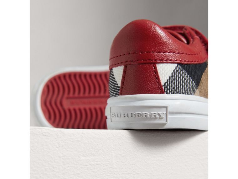 House Check and Leather Trainers in Parade Red | Burberry United Kingdom - cell image 1