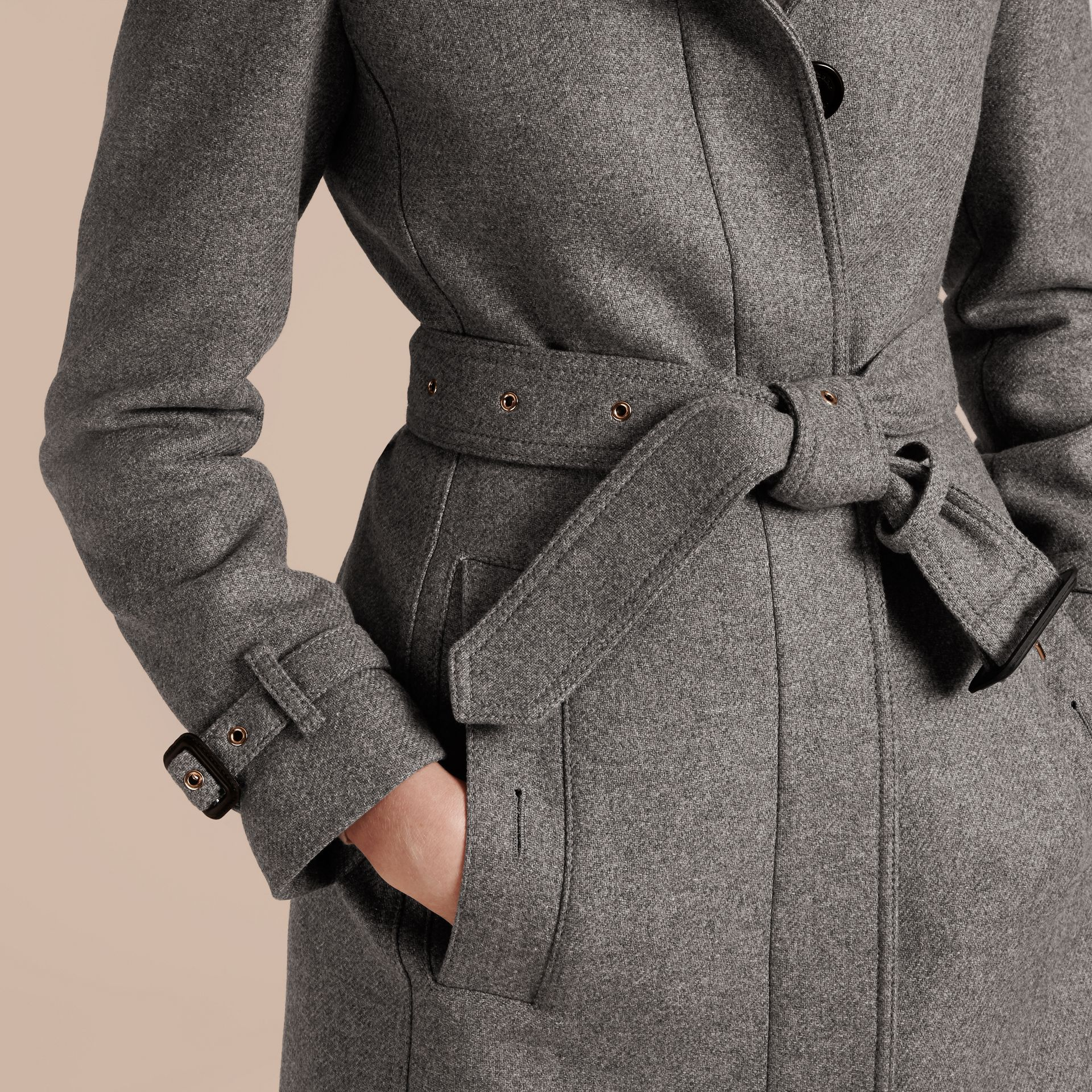 Technical Wool Cashmere Funnel Neck Coat Steel Grey Melange - gallery image 7
