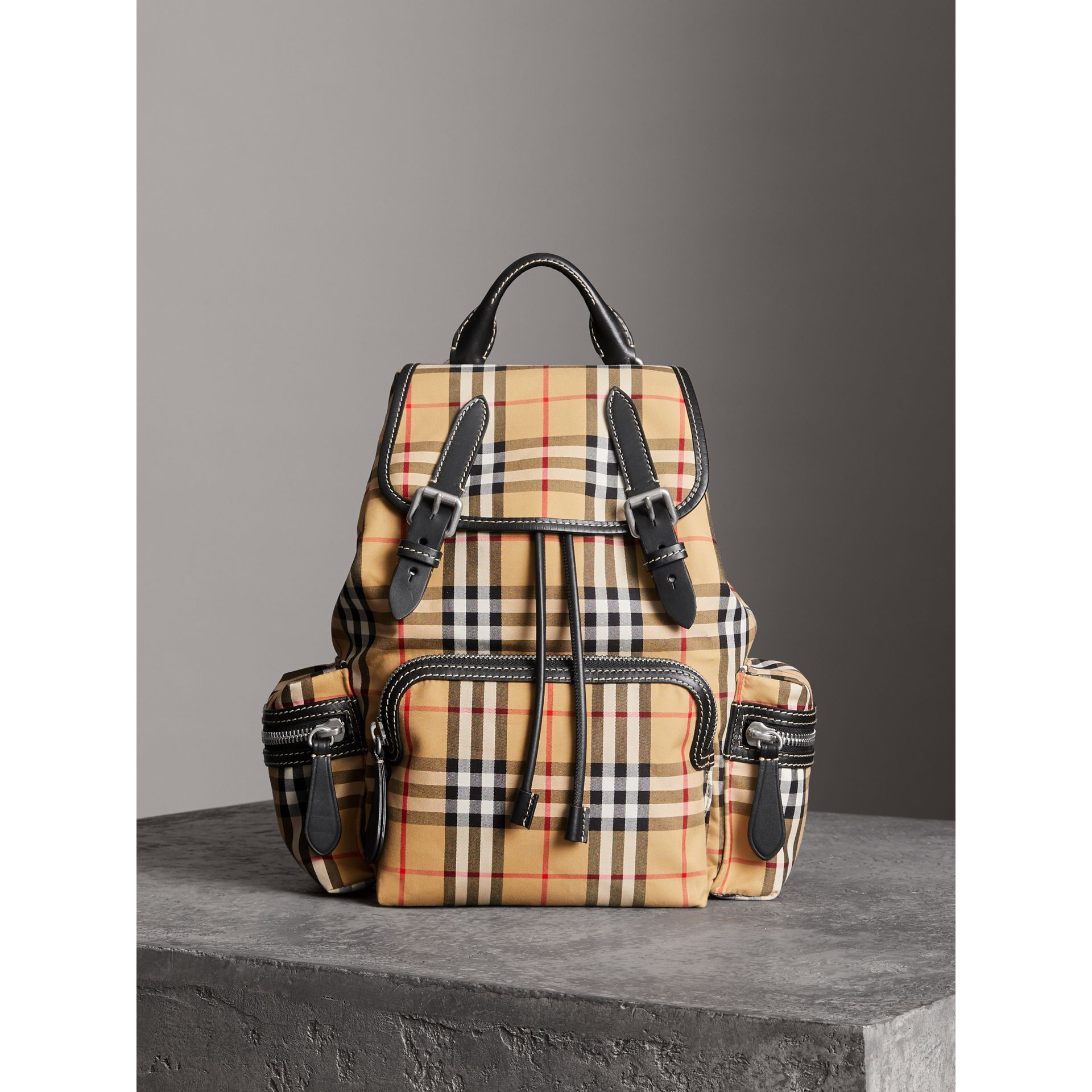 The Medium Rucksack in Vintage Check Cotton Canvas in Antique Yellow - Women | Burberry Canada - gallery image 4