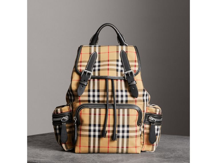 The Medium Rucksack in Vintage Check Cotton Canvas in Antique Yellow - Women | Burberry - cell image 4