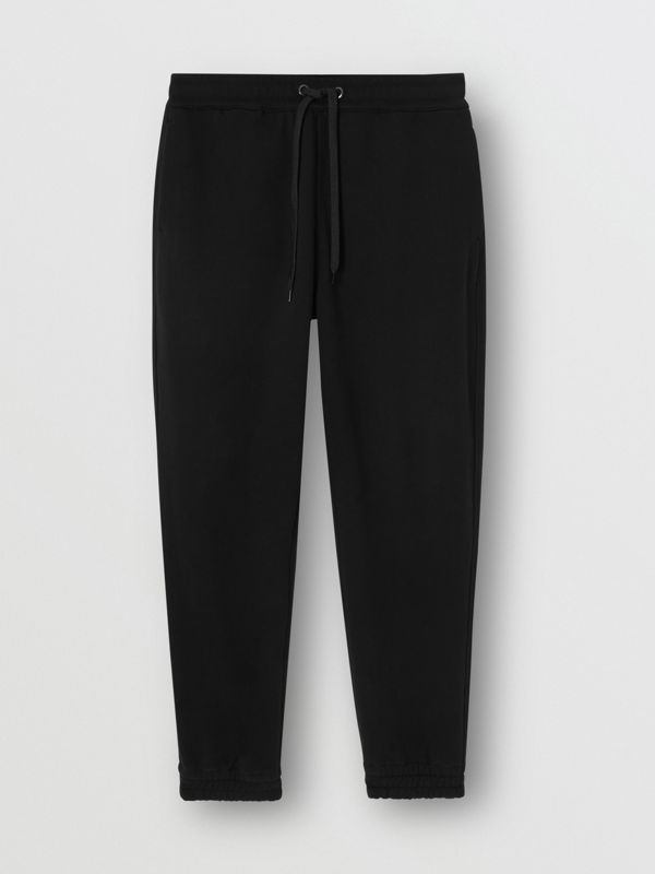 Logo Appliqué Cotton Trackpants in Black - Men | Burberry - cell image 3