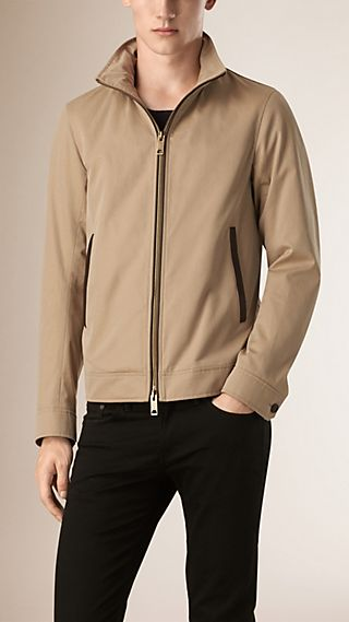 Cotton Gabardine Jacket With Packaway Hood