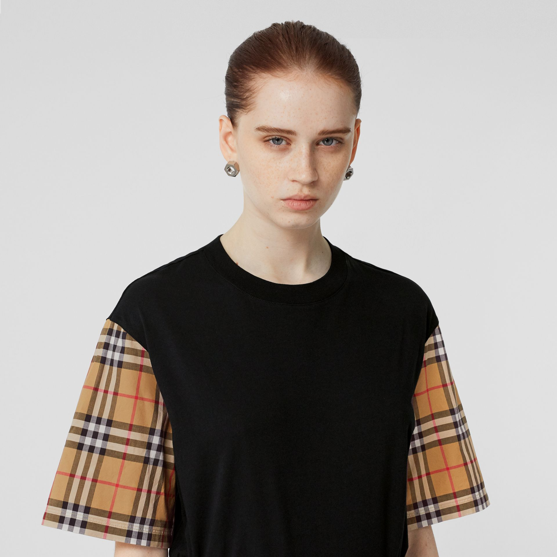 Vintage Check Detail Cotton T-shirt in Black - Women | Burberry - gallery image 1