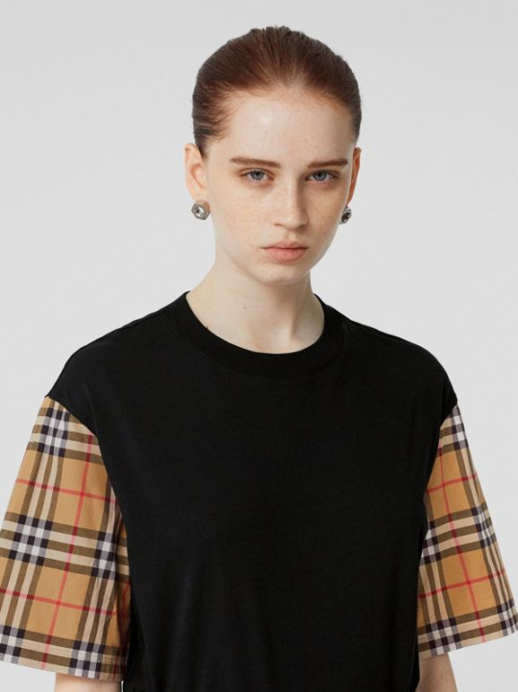 Vintage Check Detail Cotton T-shirt in Black - Women | Burberry - cell image 1