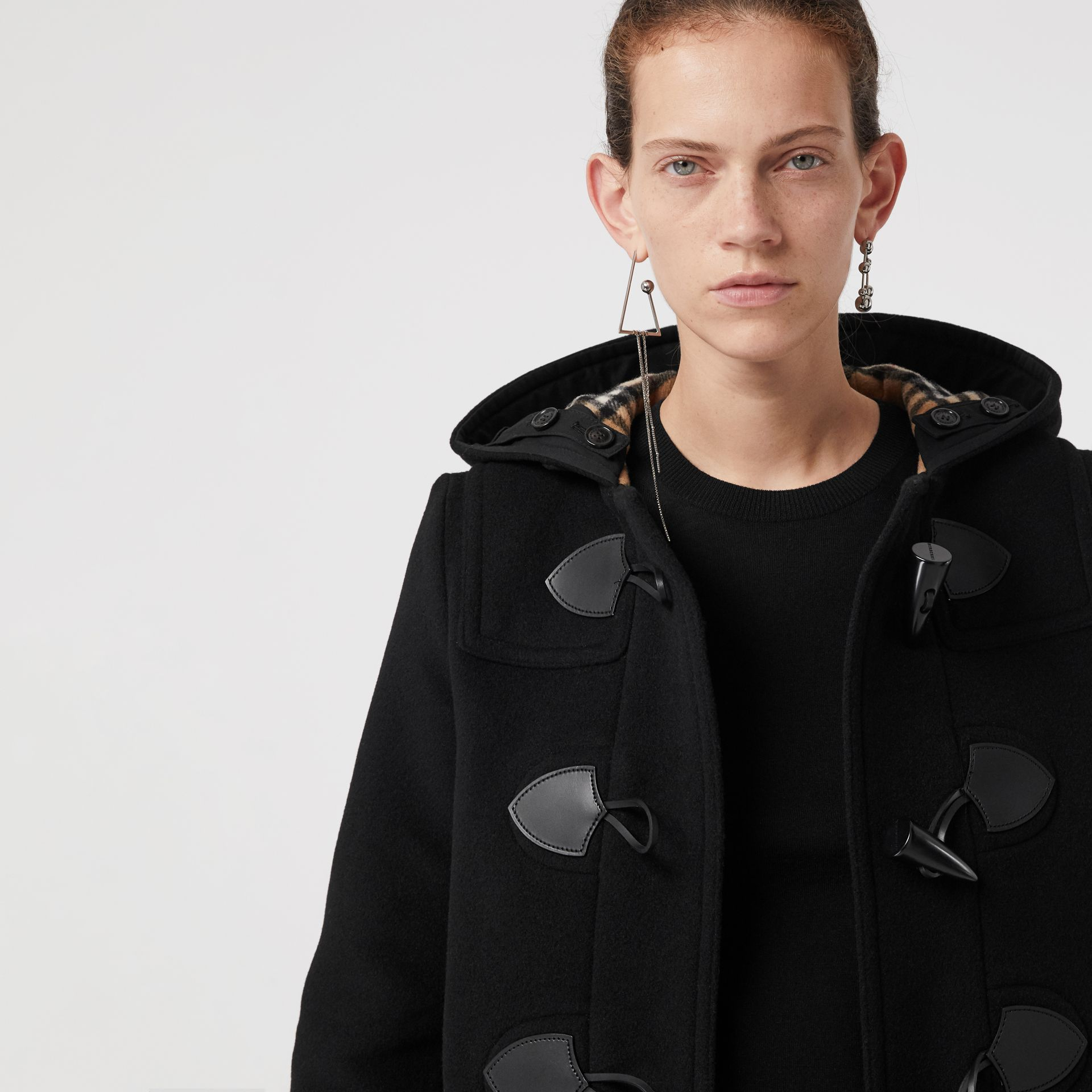 Wool Blend Duffle Coat in Black - Women | Burberry - gallery image 1