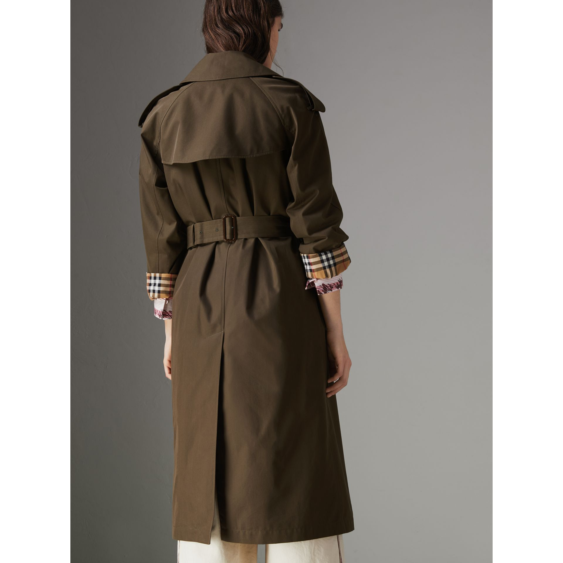Collegiate Stripe Cotton Gabardine Trench Coat in Olive - Women | Burberry - gallery image 2