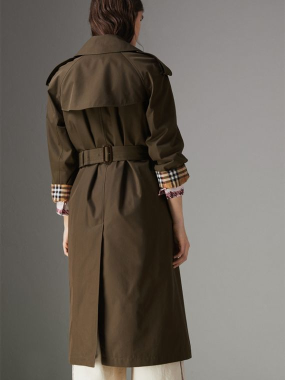 Collegiate Stripe Cotton Gabardine Trench Coat in Olive - Women | Burberry - cell image 2