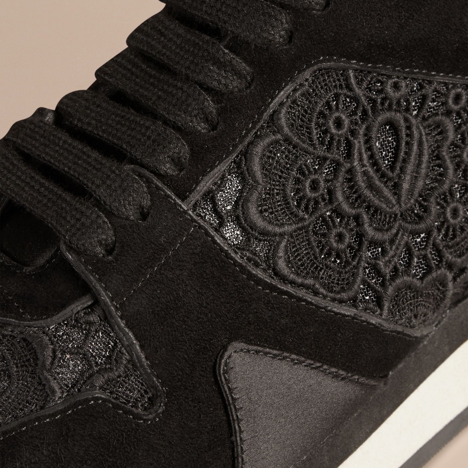 Black The Field Sneaker in Lace and Suede - gallery image 2