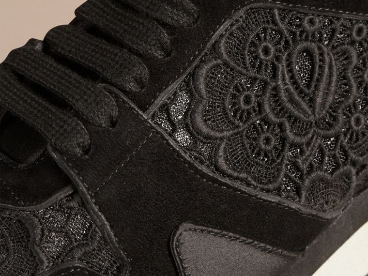 Black The Field Sneaker in Lace and Suede - cell image 1