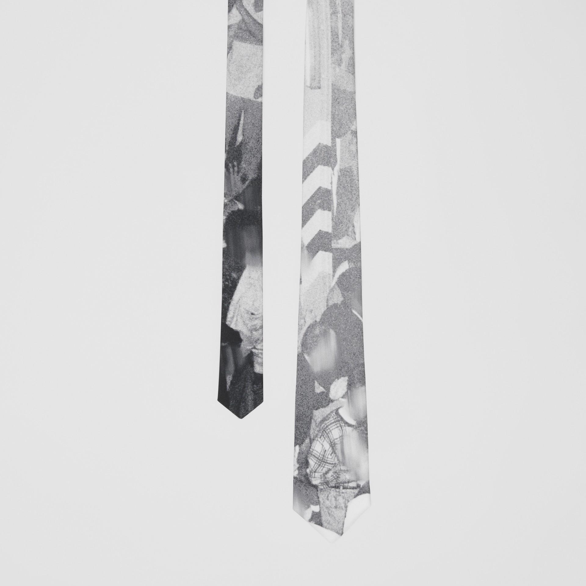 Classic Cut Rave Print Silk Tie in Monochrome - Men | Burberry Australia - gallery image 0