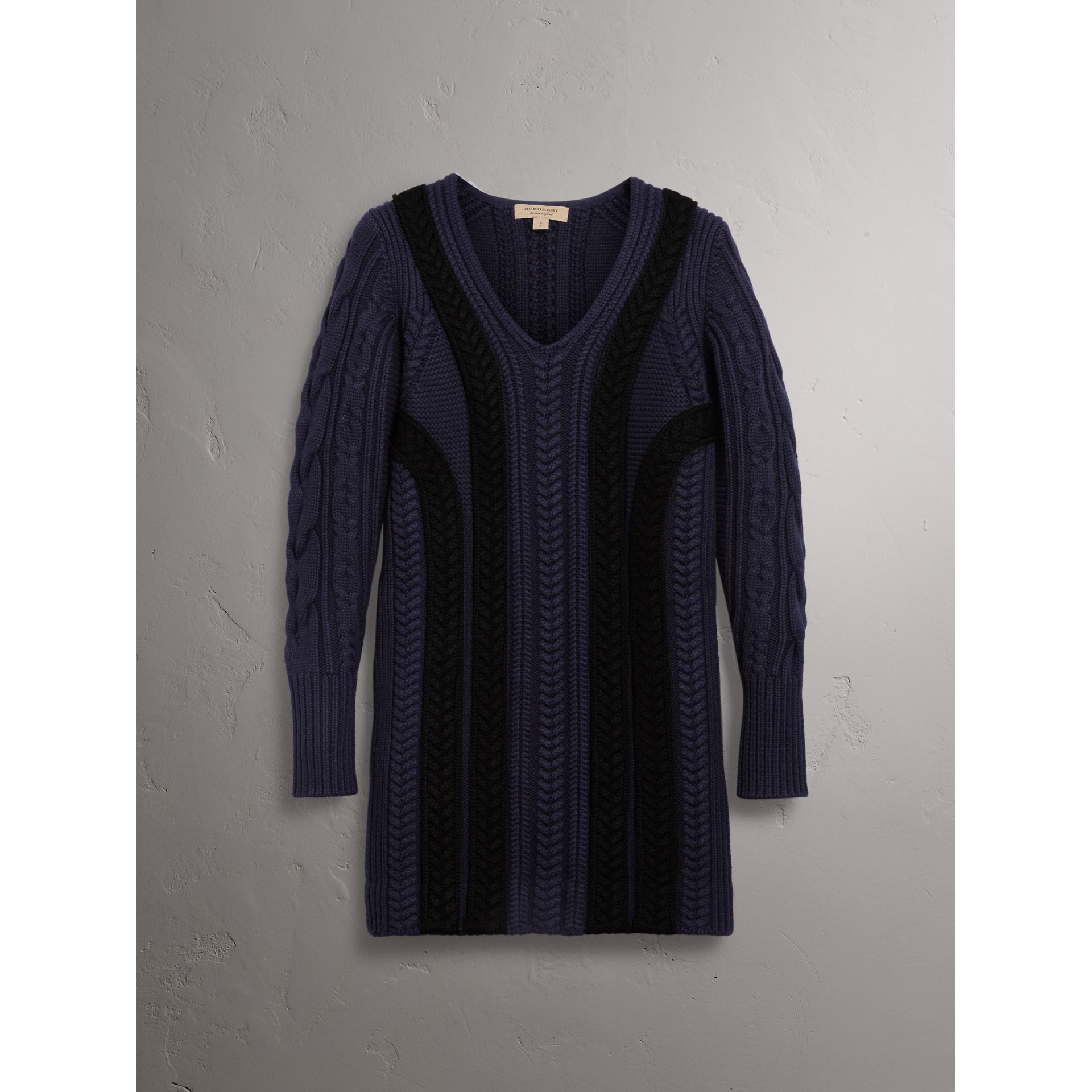 Cable Knit Wool Cashmere Sweater Dress in Navy - Women | Burberry United Kingdom - gallery image 3
